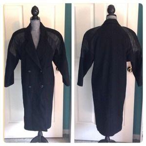 80s Vintage Wool & Leather Coat 4
