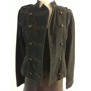 Zara military style dark denim jacket sz s