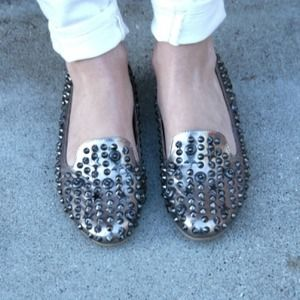 Silver Studded loafer flats