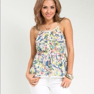 Blue floral smocked tank top