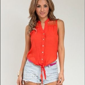 Orange embroidered tie front top