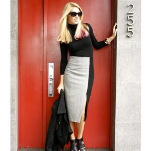 Houndstooth colorblock pencil skirt with slit