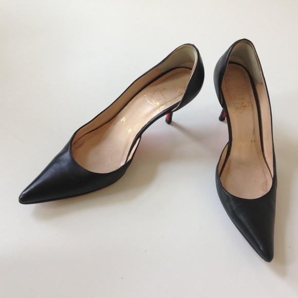 check out fe518 70533 Christian Louboutin Black D'orsay Kitten Heel 37