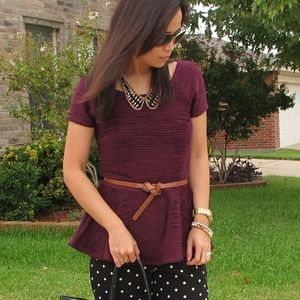 Zara oxblood peplum top
