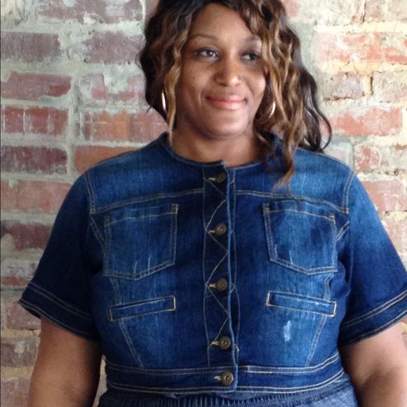 f902c1058f3a4 Ashley Stewart Denim - Plus Size Denim Cropped Jacket Coat Ashley Stewart
