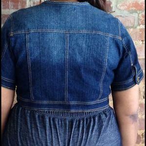 275e176e2bb49 Ashley Stewart Jeans - Plus Size Denim Cropped Jacket Coat Ashley Stewart