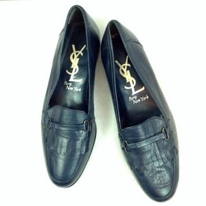 Yves Saint Laurent Shoes - New YSL Leather Loafers Navy Blue sz 9