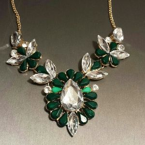 Dark green crystal bib statement necklace