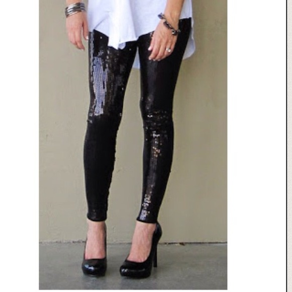Black sequin leggings M from Poshionista's closet on Poshmark