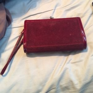 Coach suede and leather clutch