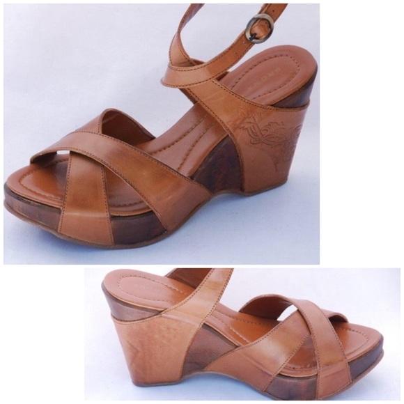 a9c2c2406fb1d NEW European wood LEATHER platform WEDGE sandalS 8 NWT
