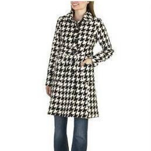 available best prices new release Black and white checkered trench coat.