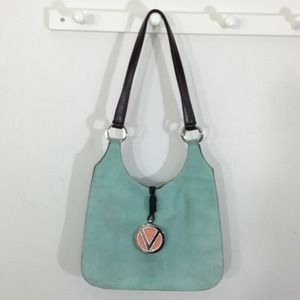 Authentic Valentino Aqua Suede Hobo Bag