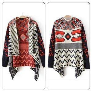 NWOT Blue/Cream/Red Asymmetrical Cardigan