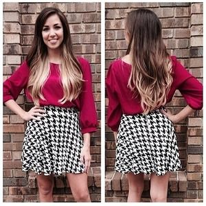 Skirts - High waisted houndstooth skater skirt. 1