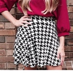 Skirts - High waisted houndstooth skater skirt. 2