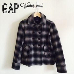 GAP Plaid black coat (size S)