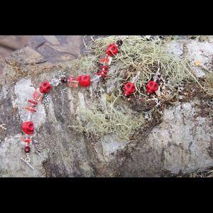 Jewelry - Red skull earrings and bracelet set