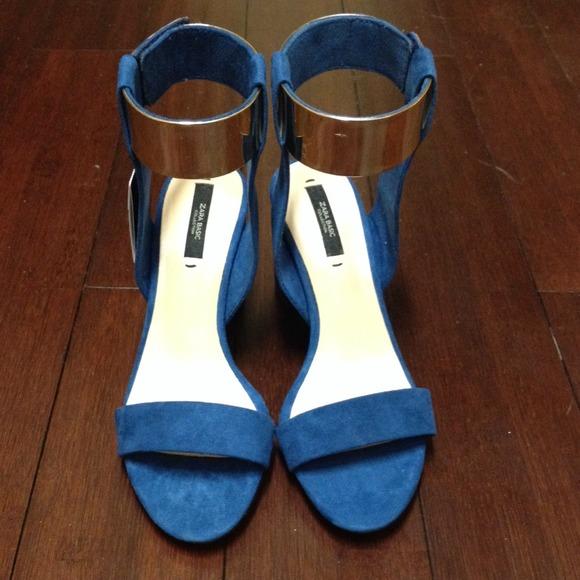 Zara Shoes - Zara blue suede block heel gold ankle strap 6.5