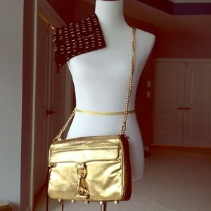 Rebecca Minkoff large gold MAC clutch