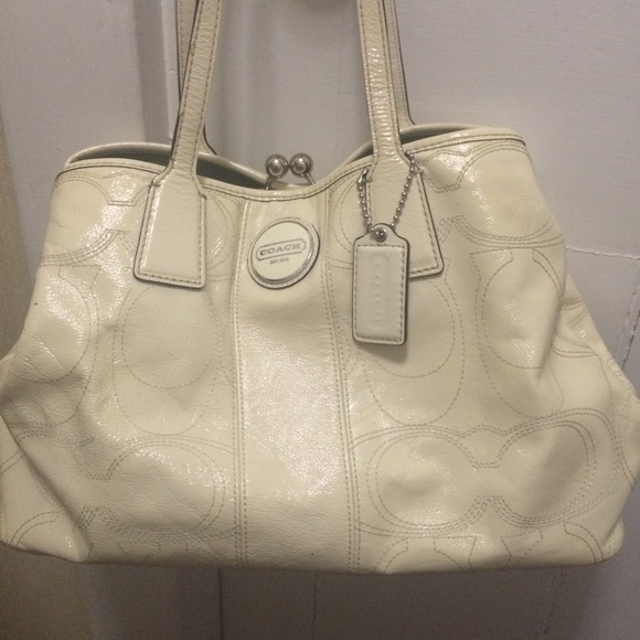 99% off Coach Handbags - Authentic white leather coach PURSE & MK ...