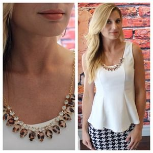 White peplum with detachable necklace
