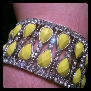 Neon yellow and diamond stretch cuff