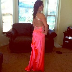 Hot neon salmon pink prom dress