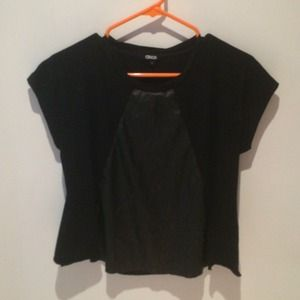 Black Asos Top with Pleather Panel
