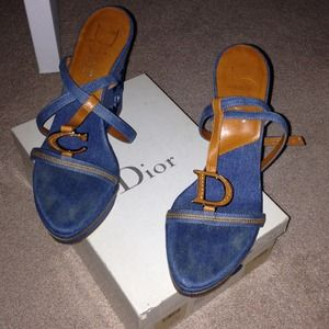Dior Denim Wedge Sandals