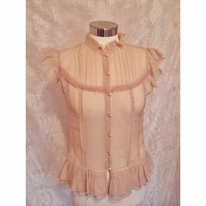 Banana Republic Silk Victorian Top