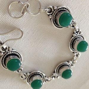 Green stones silver bracelet