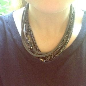 Gun Metal Multi-chain Necklace