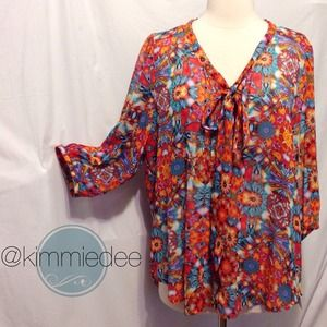 Tops - bright floral bow tie chiffon blouse