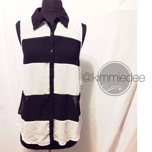 Tops - black & white bold stripe chiffon tank blouse