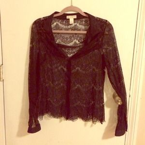 kenar Tops - Black lace button up blouse