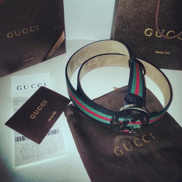 0358b7e2cf2 Authentic Black Gucci Belt w  Green Red Stripe