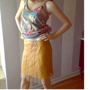 Rodarte Dresses & Skirts - darling mustard lace Rodarte skirt sz 11