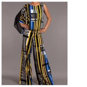 Other - Yellow Blue One Shoulder Palazzo Pant Jumpsuit