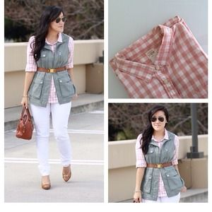 J. Crew Tops - Pink gingham shirt