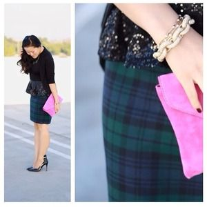Jcrew tartan pencil skirt