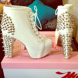 Jeffrey Campbell Spiked Lita, White Leather