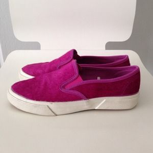 Pony Hair Slip-Ons In Hot Pink