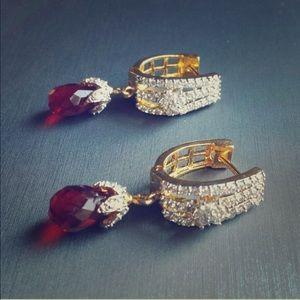 Cubic zirconia & red ruby crystal earrings