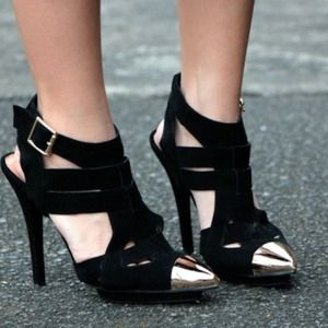 Jeffrey Campbell Black Suede Leather Heels