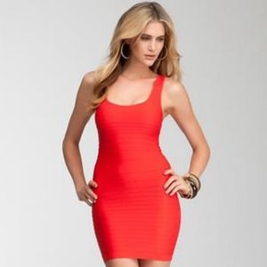 BEBE Red shine cut out bodycon bandage dress XS/S