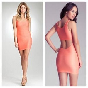 BEBE shine cut out bodycon bandage dress XS/S