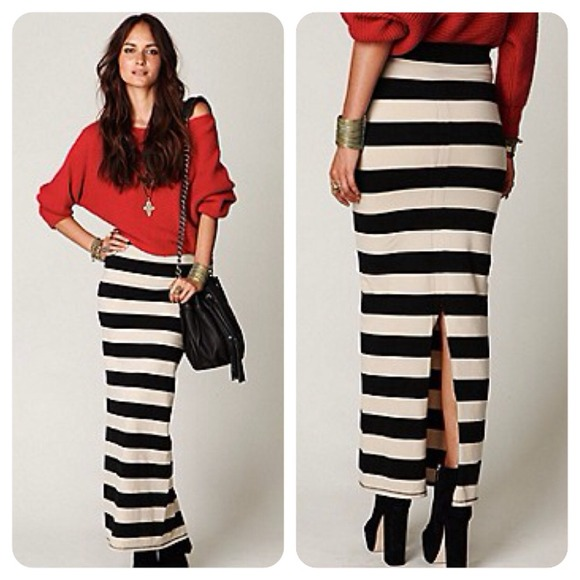 Free People - BUNDLED! 💙 free people // rugby stripe maxi skirt ...