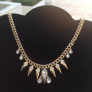 Gold and rhinestone spike necklace
