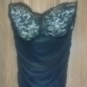 Sexy black sweetheart lace mini dress ruched s new